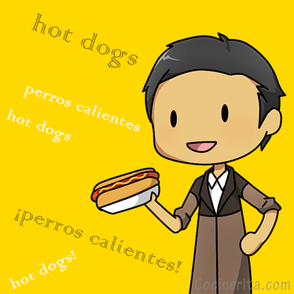 perros calientes hot dog cartoon